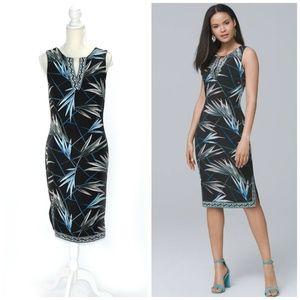 WHBM Palm Print Knit Sheath Dress Black
